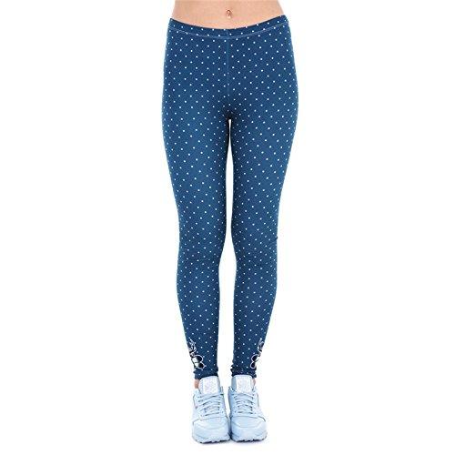 Hanessa Frauen Leggins Blau Türkis Bedruckte Leggings Hose Frühling Sommer Kleidung Punkte
