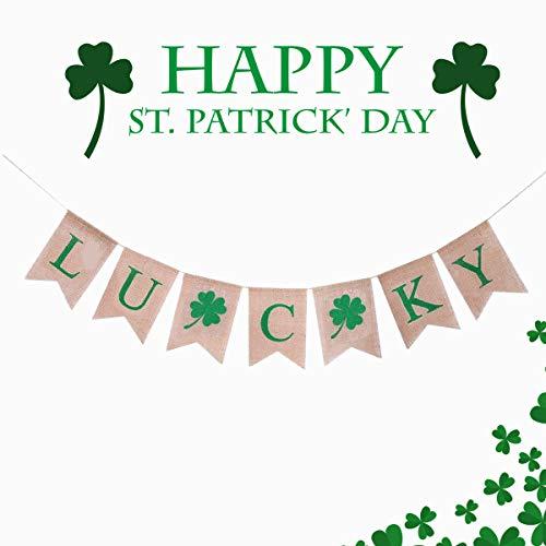 St. Patrick's Day Banner Deko, irische Glück Vier Kleeblatt Shamrock Sackleinen Banner St. Patrick's Girlande Dekorationen St.Patrick's Day Dekorationen, (St.Patrick's Day) (Patricks Day Dekoration St)
