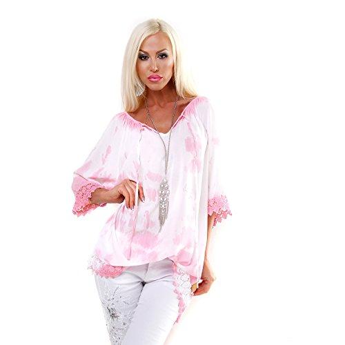 Italy Batik Tunika mit Spitze und Farbverlauf Longtunka Kleid Bluse Shirt Coralle