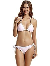 zeraca Damen Spitzenbesatz Triangel Neckholder Bikini Set Badeanzug 06d12bc6fc