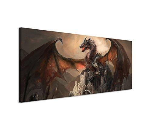 150x50cm Leinwandbild auf Keilrahmen Ritter Drachen Kampf Dunkelheit Fantasy Wandbild auf Leinwand als Panorama (Poster Drachen)