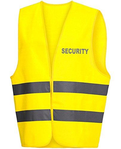 Warnweste / Warnschutzweste / Securityweste gelb, REFLEX-DRUCK auf BRUST und RÜCKEN mit SECURITY (reflektierend)