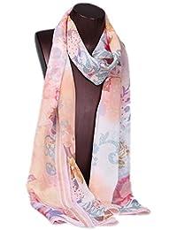 Prettystern HL756 - 180cm langer Seidenschal Halstuch - Blumen Fantasie - in 4 Farben erhältlich