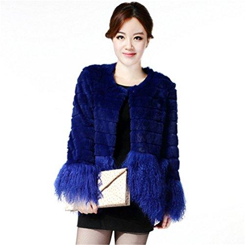 YR Lover Damen Kanichen Pelz Mantel & Tibet Schafspelz Hem Blau