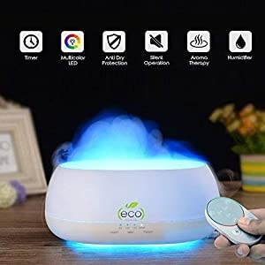 Tesco Cloud Mist Air Humidifier, Aroma Diffuser With Multi Color Lamp, 500Ml