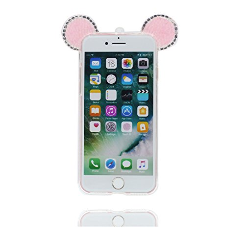 "Hülle iPhone 6, [ TPU Flexible Langlebige Bling Diamonds Pink Cute Ohr] iPhone 6S Handyhülle Cover (4.7 zoll), iPhone 6 Case Shell (4.7"") Anti-Beulen - 3D Maus Ohr Cartoon Mouse ear Pink"