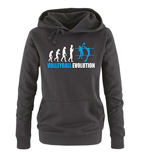 Comedy Shirts - Volleyball Evolution - Damen Hoodie - Schwarz/Weiss-Blau Gr. M
