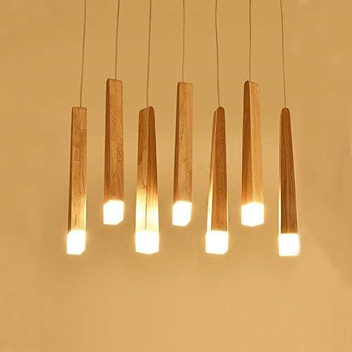 LED Pendelleuchte Esstischlampe höhenverstellbar Esszimmerleuchte Retro Holz Hängelampe Pendellampe Vintage modern Deckenleuchte (7-Flammig)