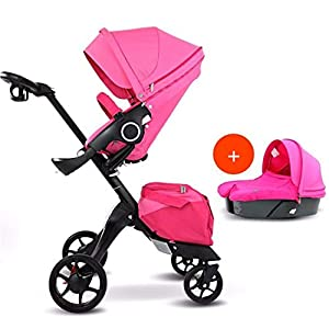 BABIFIS Baby Stroller High Landscape Can Sit Reclining Foldable Reversible Baby Four-wheeler Stroller E   15