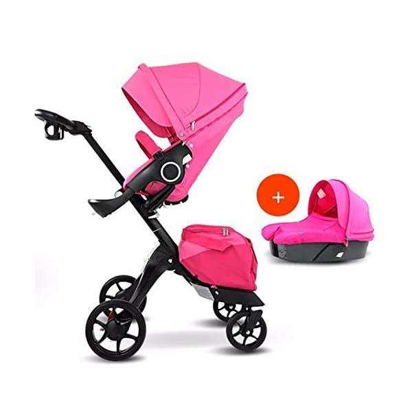 BABIFIS Baby Stroller High Landscape Can Sit Reclining Foldable Reversible Baby Four-wheeler Stroller E BABIFIS 75CM high landscape, two-way adjustment, SUV-level suspension, multi-turn adjustment, away from the car exhaust, breathing fresh air Height-adjustable, no need to change chairs, and easy to eat in parallel with most dining tables As a two-way adjustment, two orientations towards three seats, two-way implementation,Sleeping basket can be carried independently, 0-6 months baby's comfortable cot 1