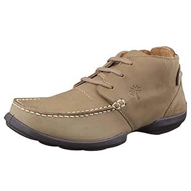 Woodland Men's Khaki Leather Boat Shoes - 10 UK/India (44 EU)