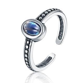 Luna Azure Echt Edelstein Oval Mondstein Vintage Retro Stil 925 Sterling Silber Verstellbarer Ring Damen Mädchen Geschenk Schmuck
