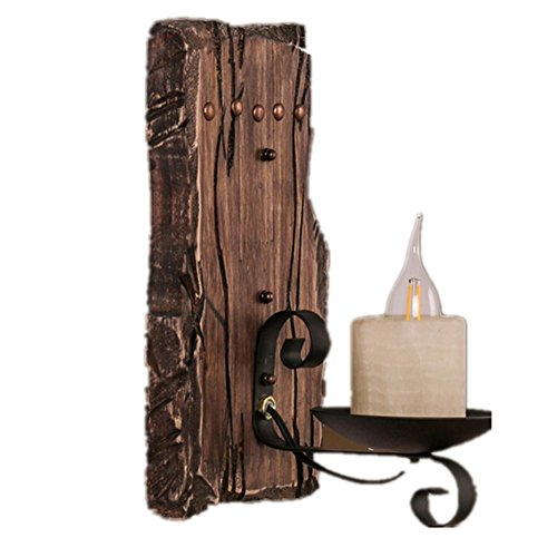 Corridoio di vetro pulsante tinta legno parete lampada Retro legno
