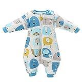 Baby Schlafsack mit Beinen warm gefüttert Winter Langarm Winterschlafsack mit Fuß 3,5 Tog (L/Körpergröße 85cm-95cm, Blau)