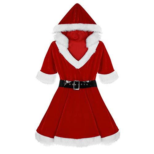 Agoky Damen festlich Kleid aus Samt Winterkleid warm Parykleid V-Ausschnitt mit Kapuze Tutu Kleider Frauen Miss Santa Claus Kostüm Nikolaus Verkleidung mit Gürtel Rot ()
