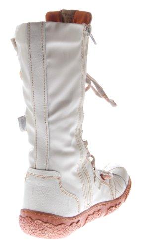 Leder Stiefel TMA Damen Winter Schuhe gefüttert Schwarz Weiß Rot Grün Gelb Damenstiefel im used look Weiß
