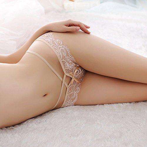 Bigood Culotte Femme Transparente Slip Dentelle String à Ficelle Lingerie Erotique Fantaisie Complexion