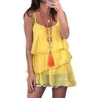 Women's Chiffon Layered Tank Tops Summer Sleeveless Blouses Shirts Yellow XXS