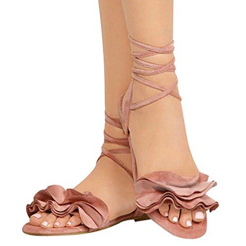 Damen Sandalen Ronamick Frauen Einfarbig Rüschen Runde Zehe Flache Ferse Kreuz Gebundene Sandalen Rom Schuhe (40, Rosa)