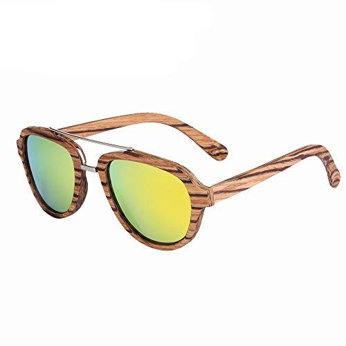 GSSTYJ Handmade Bambus und Holz Brille Mode Sonnenbrillen Bambus und Holz Brillengestell mit Metall (Farbe : Zebra bark+orange Slices)