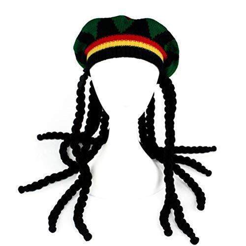 Amosfun Gestrickte Beanie Unisex Jamaican Haar Hut Perücke Hut Multicolor Hut mit Zöpfen Halloween Party Favors, Freunde (Jamaican Hüte)