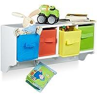 Preisvergleich für Relaxdays Kinder Wandregal ALBUS, Wandgarderobe mit 4 Kleiderhaken, Kinderregal mit 4 bunte Faltboxen, HBT: ca. 28 x 61 x 16 cm, weiß