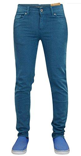 Carbon212 - Jeans aderenti da uomo in tessuto Denim basico, con 5 tasche Dark Teal W30 / L30
