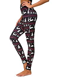 b80db9931660b Leggings de Noël Imprimer,Crayon Pantalon Femme,Skinny élastique Legging  Bringbring