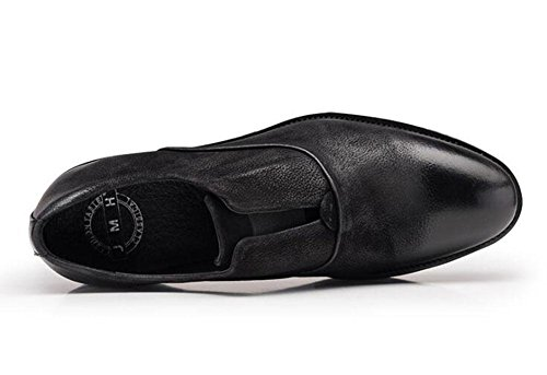 SHIXR Männer Slip-On Oxford Britische Retro Big Leder Schuhe Business Casual Herren Schuhe Dick Leder Schuhe Black