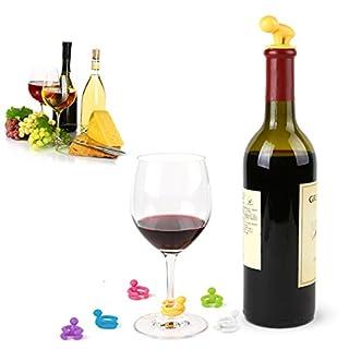 Aliciashouse Kreative kleine Säufer Weinflasche Stopper sechs Weinglas Cup Marker Silikon Wein Cap