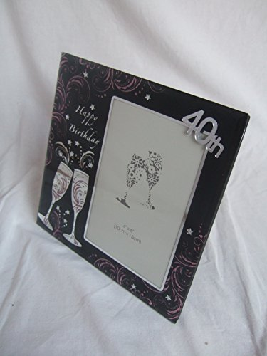 BCBGMAXAZRIA Happy 40th Birthday Schwarz & Rosa/Lila Glitzer champagner Flöten Glas Foto Rahmen-15,2x 10,2cm Blende (Lila Champagner-gläser)