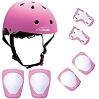 KUMUGO Kids Protective Gear Set, Kids Childs Childrens Skate Helmet Knee Pads Elbow Pads Wrist Guards for Skateboard Bike BMX Cycle Roller Skating and Stunt Scooter 3-8 Years Old Boys Girls