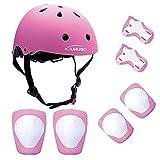KUMUGO Protezioni per bambini Childs Skateboard Casco Ginocchiere Gomitiere Protezioni per il polso per BMX Cycle Roller Skate Scooter 3-8 anni Bambini (Pink)