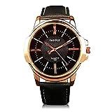 Elegant Armbanduhr,Moeavan Männliche und weibliche Universal-Quarzuhren mit schwarzem Zifferblatt analogen Display und schwarzem Lederband (Schwarz)