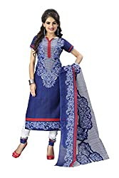 Sky Global Women's Poly Cotton Printed Unstitched Regular Wear Dress Material (SKY_510_Blue)