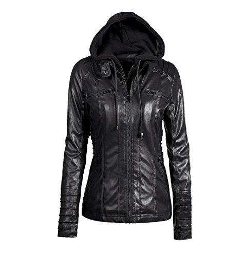 Damen Lederjacke Kapuzenjacken Zip Up | ZEZKT Frauen Wintermantel Jacken Pullover Outwear Motorradjacke Oberbekleidung Mode (L, Schwarz) (Baseball Lederjacke)