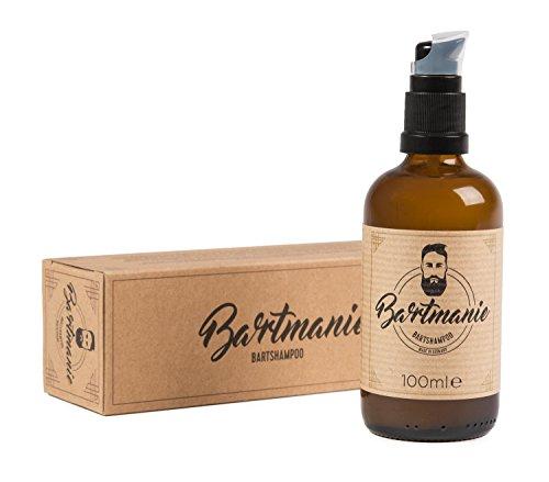 Bartmanie Bartshampoo (100ml), mildes Pflegeshampoo für einen vollen & vitalen Bartwuchs, ideal gegen Juckreiz, vegan & ohne Parabene oder Weichmacher, Bart-Pflegemittel für Männer
