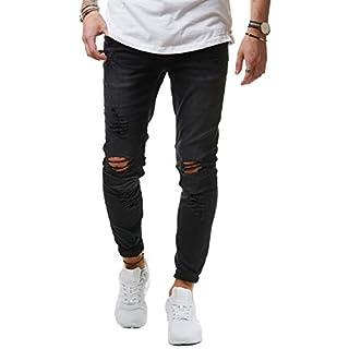 EightyFive Herren Destroyed Jeans Slim Fit Skinny Stretch Denim Schwarz  EF1512, Farbe Schwarz, bacfcdb9ef