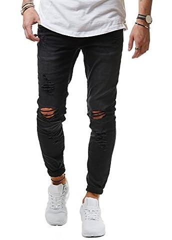 EightyFive Herren Jeans Denim Hose Slim Fit Destroyed Zerrissen Schwarz Weiß Khaki EF1512, Farbe:Schwarz, Hosengröße:W30