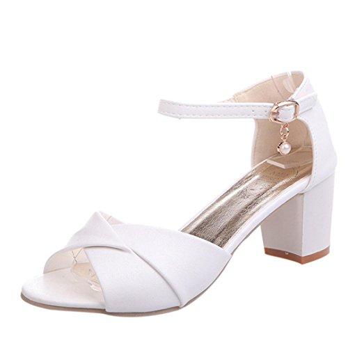 Zapatos de Tacón Altas Mediano Ancho para Mujer Verano 2018 PAOLIAN Fiesta Zapatos  de Boca de 9db782519e70