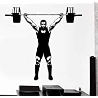 ziweipp 57 * 71cm Wall Sticker Sport Champion Crossfit Bodybuilder Strong Man Barbell Vinyl