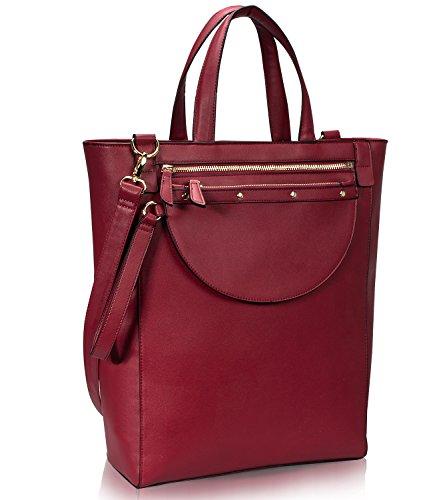 Estarer Damenhandtasche PU-Leder Handtasche Damen Laptoptasche 15,6 Zoll für Arbeit Uni Rot Wein (Wein-rot-handtasche)