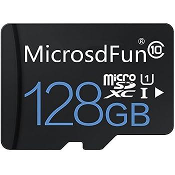microsdfun Ultra 128 GB Micro SDXC UHS-I Tarjeta Clase 10 con Adaptador de Tarjetas de Memoria de Alta Velocidad TF Tarjeta (128GB, Negro)