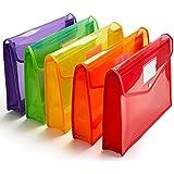 JEF® Envelope Folder,Transparent Poly-Plastic A4 Documents File Storage Bag with Snap Button Set of 5/Certificate File Holder