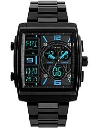 Hemobllo Reloj para Hombre Reloj Deportivo Grande Cuadrada Deportivo analógico Digital Impermeable ...