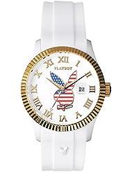 Playboy  0 - Reloj de cuarzo unisex, con correa de silicona, color blanco