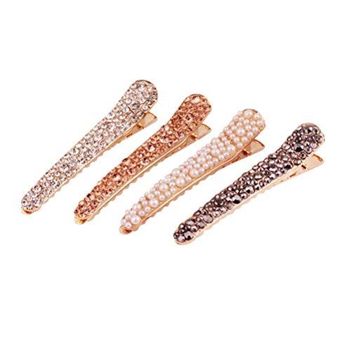 LURROSE 4 Pezzi di plastica per Capelli forcine Cristallo Anatra fattura Barrette Clip di Capelli di Trucco per Le Ragazze della Donna (Modello Casuale)