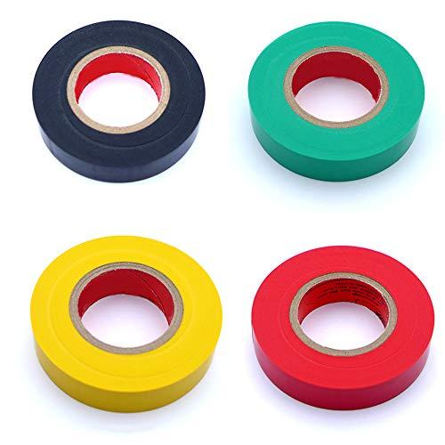 Limeow Isolierband Set PVC Isolierband Klebeband Isolierband Selbstklebend Tape Klebeband Farbigen PVC Band Abklebeband Elektro Isolierband Hohe Flexibilität und Klebekraft, 20m*17mm, 4 Stück