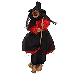 Cadillaps Voice Activated Touch Hanging Witch Animated Horror Ghost Toys Halloween Haunted House Decor Prop