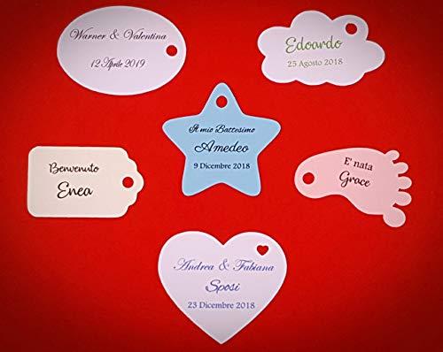 ArtigianeriA - Set di 20 (o più) ETICHETTE personalizzate per BOMBONIERE fai da te. Realizzate in Italia. Ideali per Battesimo, Prima Comunione, Cresima, Matrimonio, Laurea, Compleanno, Anniversario.